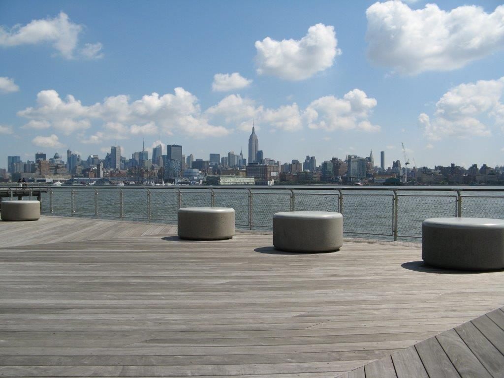 Hoboken Park Waterfront, New York-Vista panmorámica barandilla rellena de malla de cables X-TEND.