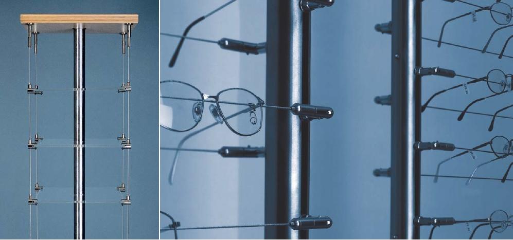 Cables y tensores posilock- aplicación para estanterías de óptica